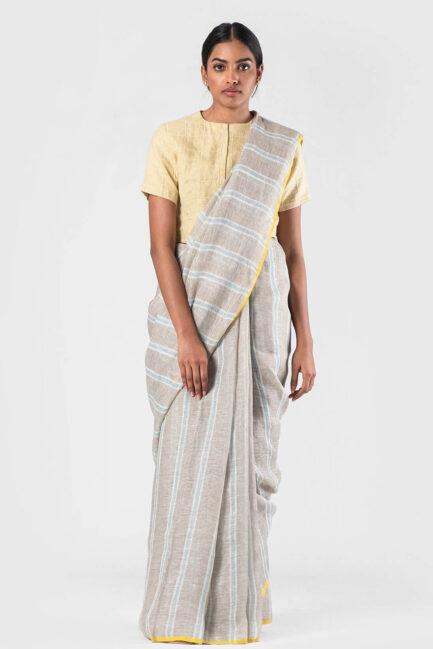 Anavila Natural Crome detail stripe sari