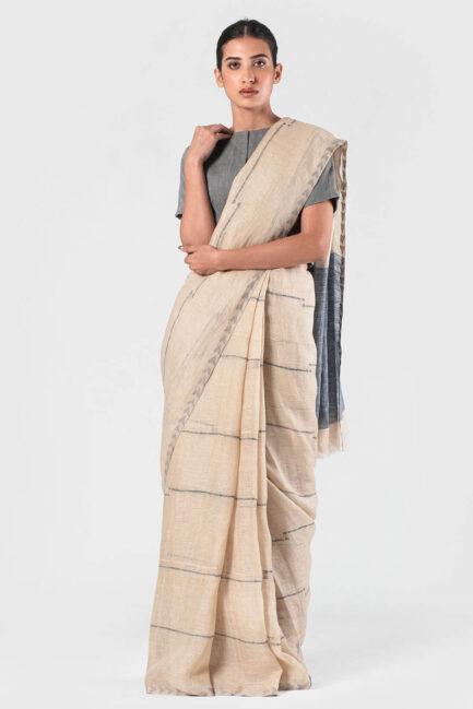 Anavila Natural Beige and blue jamdani cord sari