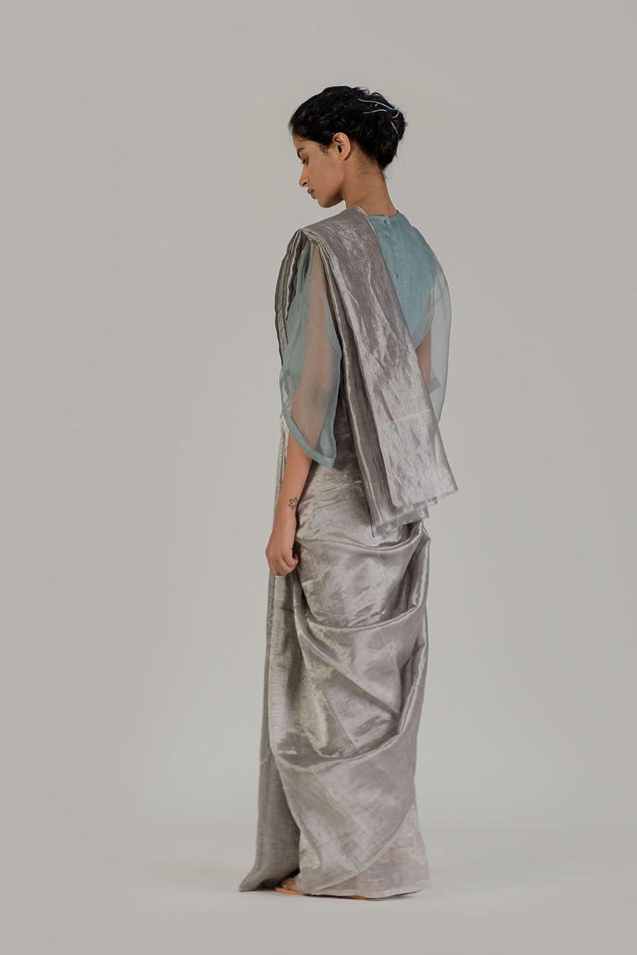 Anavil Blue grey linen zari sari