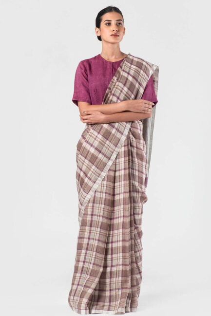 Anavila Khaki-purple Summer plaid sari