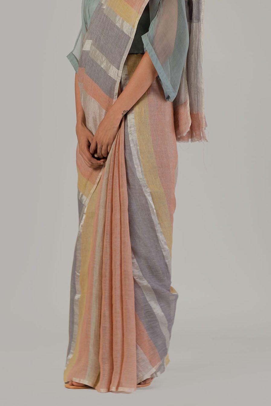 Anavila Silver stripe sari