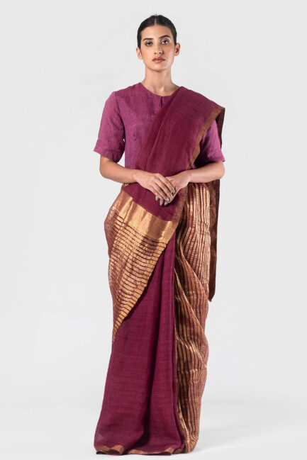 Anavila Wine Long mocklino pallu sari