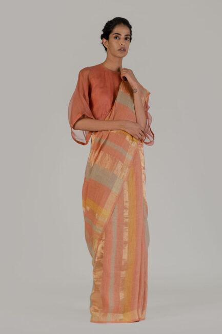 Anavila Gold stripe sari