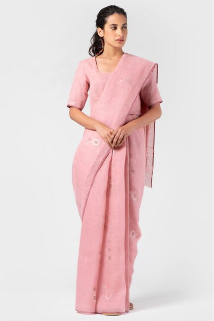 Anavila Carnation jamdani linen sari