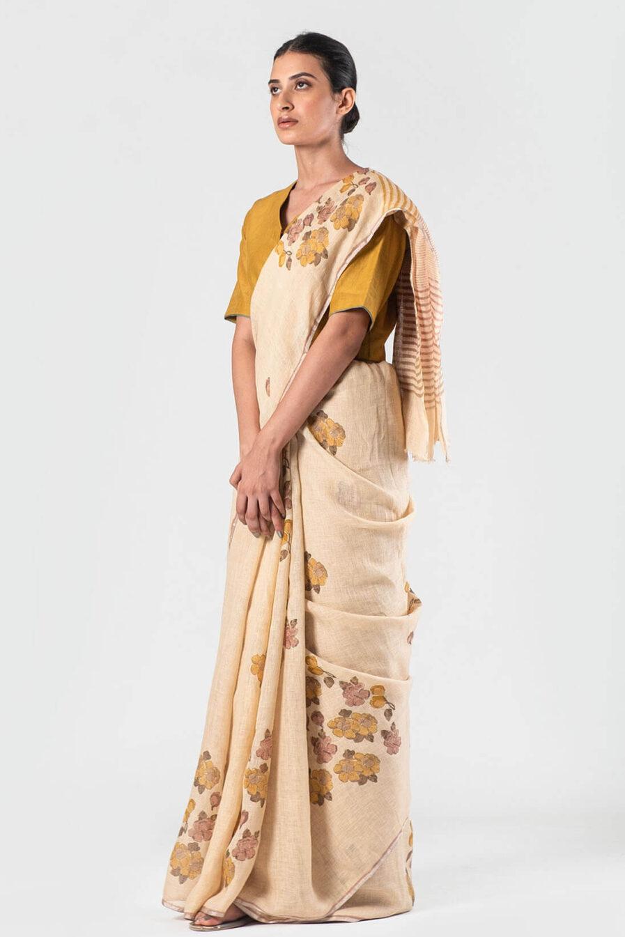 Anavila Beige Floral autumn sari