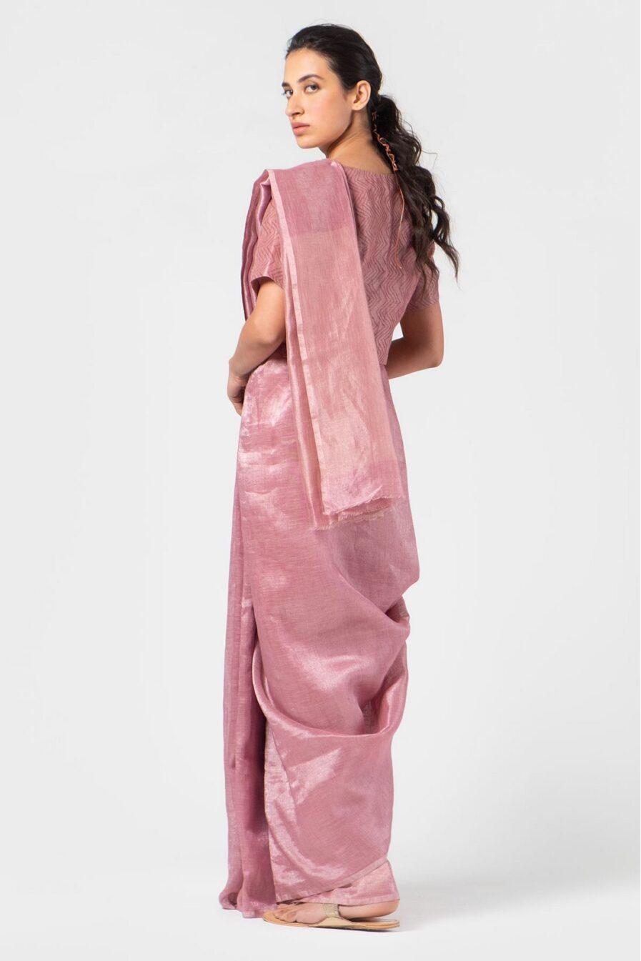Anavila Dark thulian soft mauve metallic sari