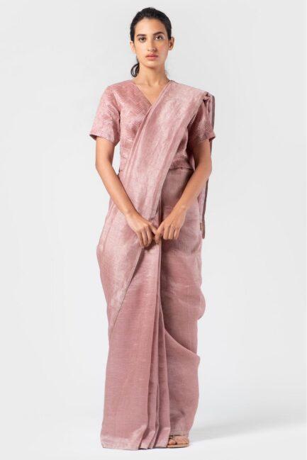 Anavila Light thulian soft mauve metallic sari