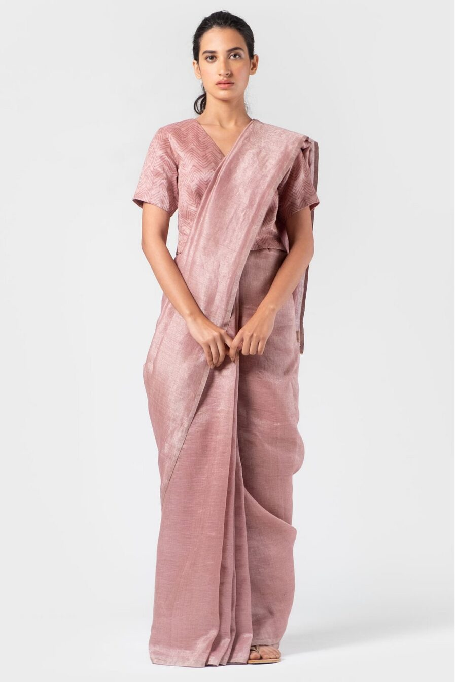 Anavila Light thulian soft mauve metallic sari