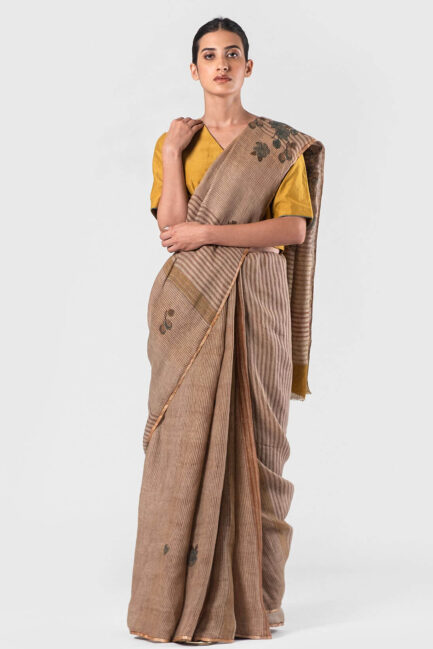 Anavila Fawn Multi stripes floral block printed sari