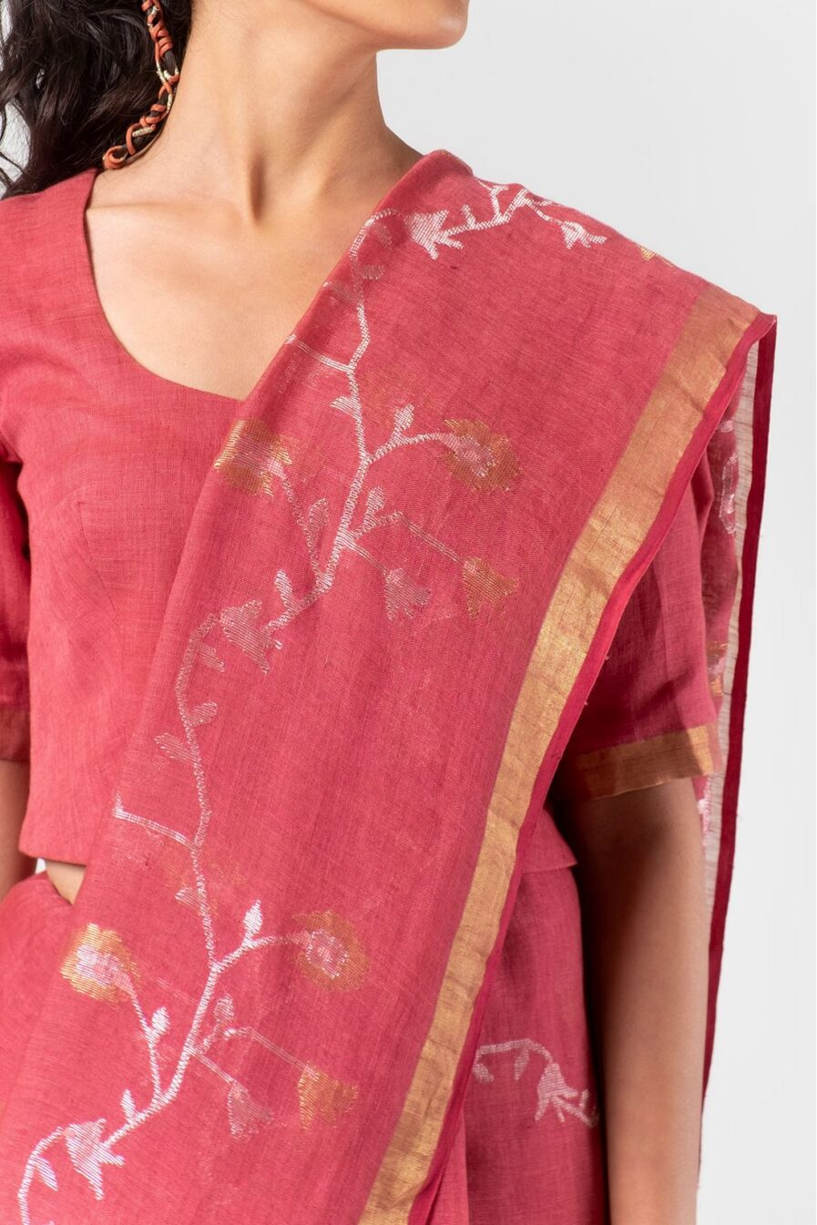 Anavila Ruby jamdani linen sari