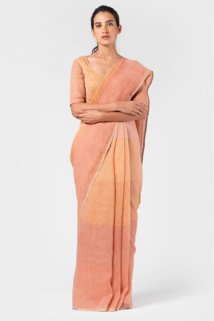 Anavila Graded peach summer sari