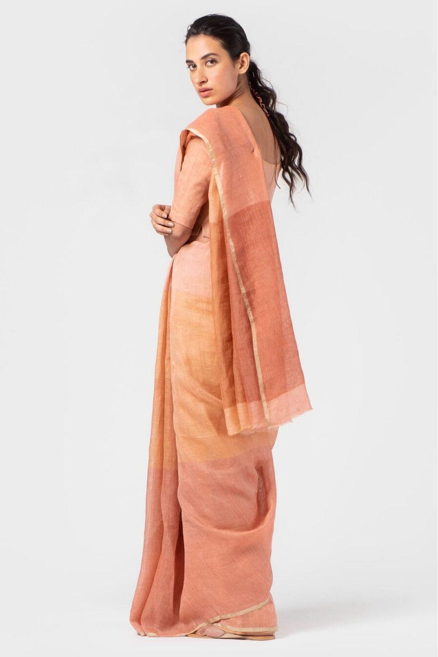 Anavila Graded peach summer sari