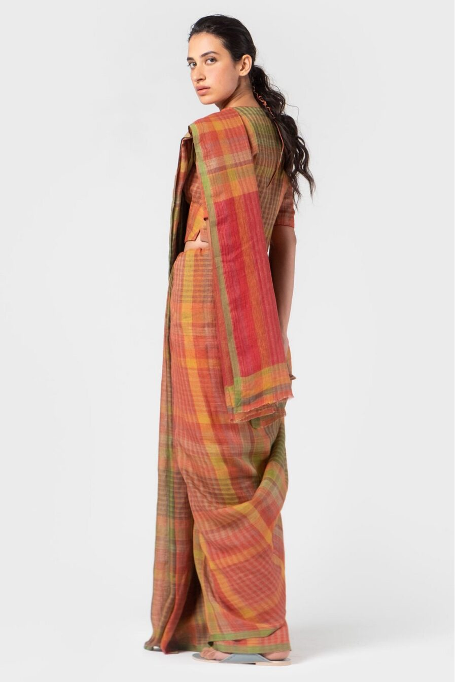 Anavila Persian multi plaid sari