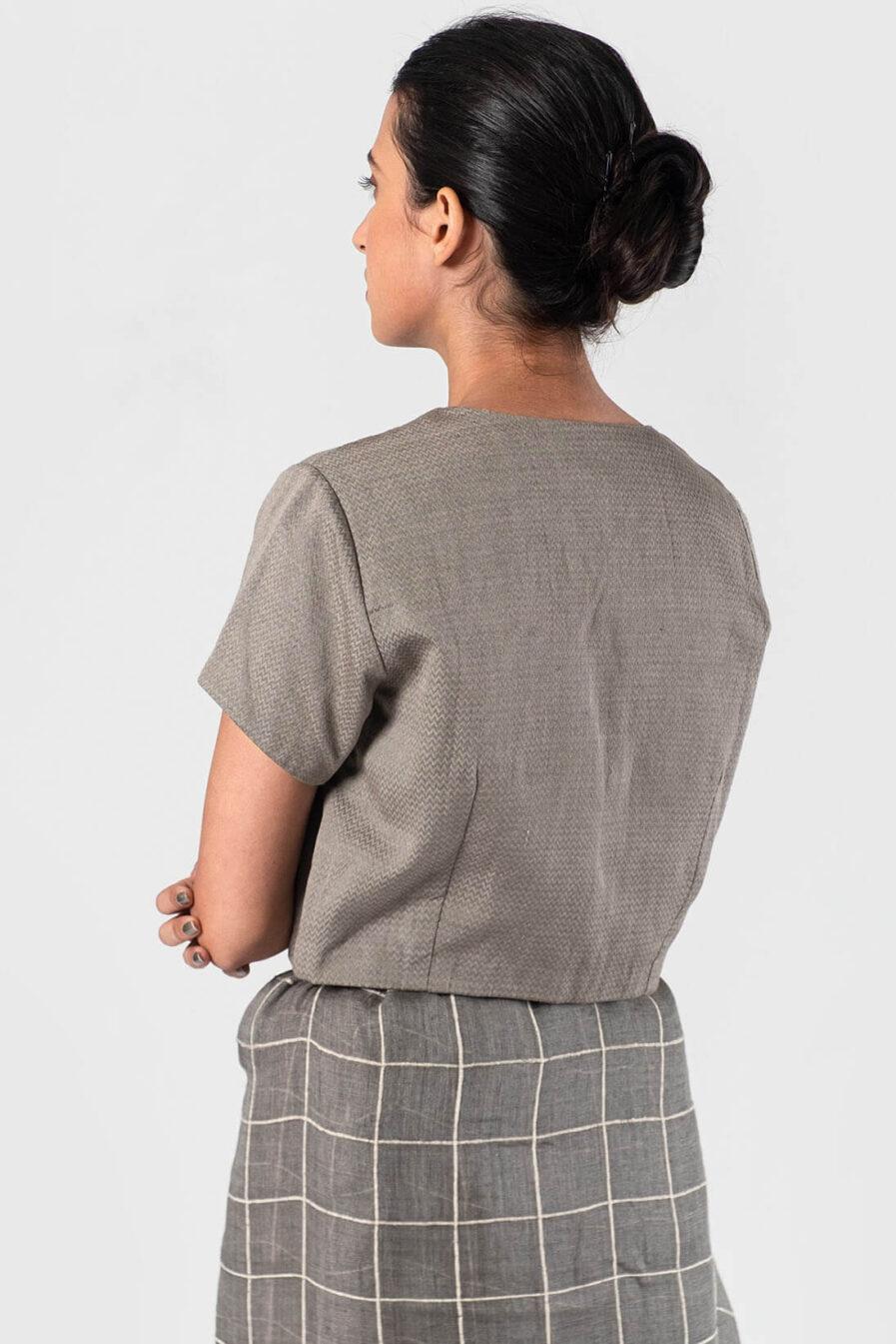 Anavila Grey Herringbone blouse