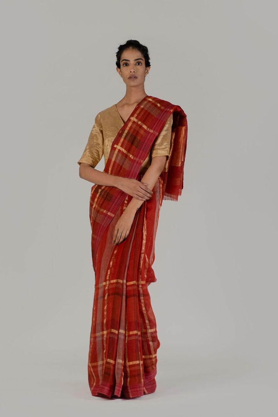 Anavil Zari checkered sari