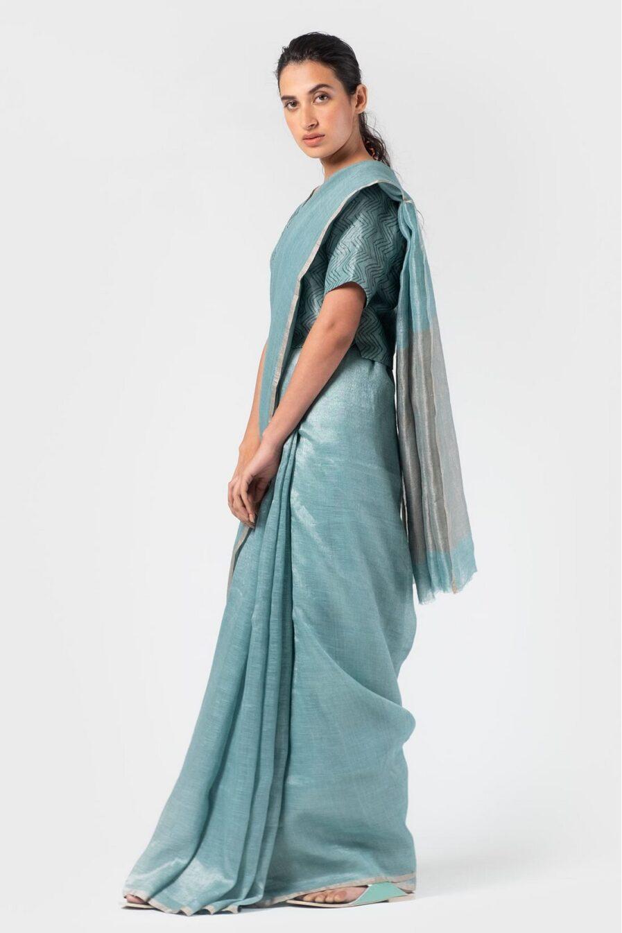 Anavila Periwinkle metallic sari