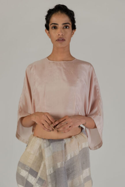 Anavil Blush Silk kaftan blouse
