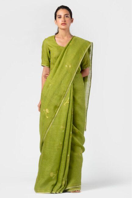 Anavila Basil jamdani linen sari