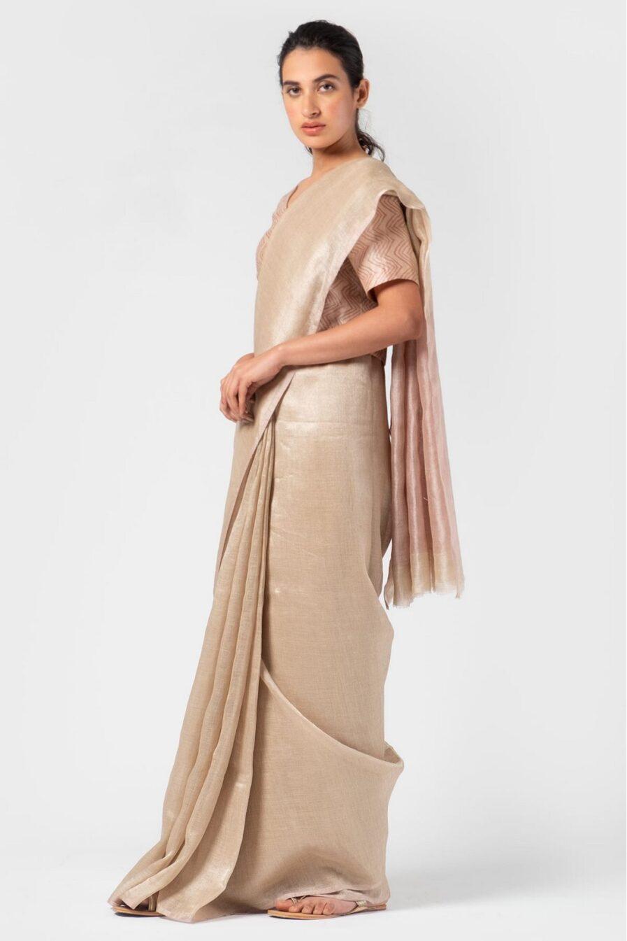 Anavila Thistle pink metallic sari