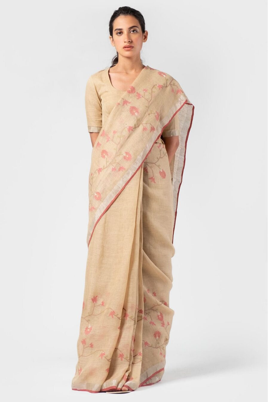 Aanavila French rose linen jamdani sari