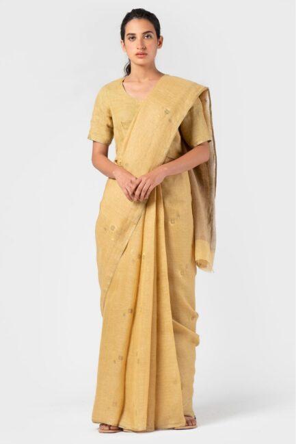 Anavila Royal jamdani linen sari
