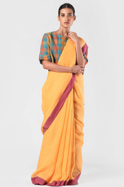 Anavila Tangerine Grape cotton border linen sari