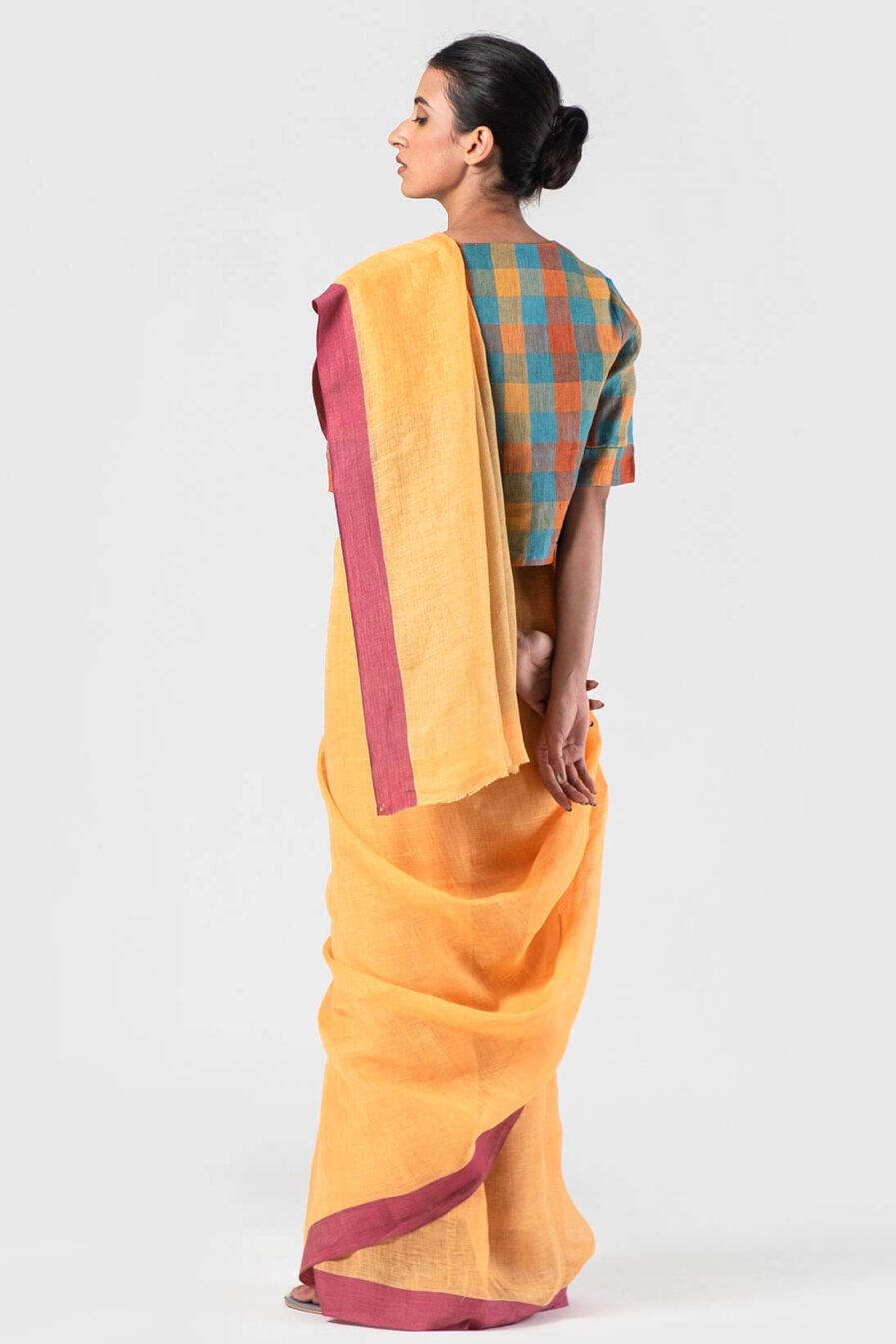 Anavila Tangerine Grape cotton border linen sari