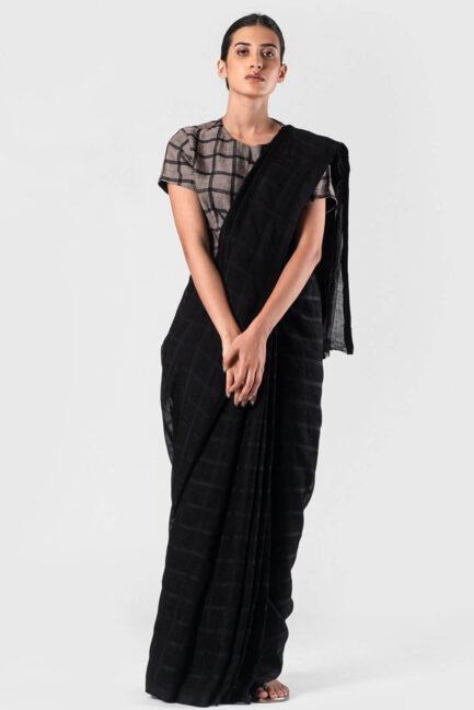 Anavila Black Black silk grid linen sari