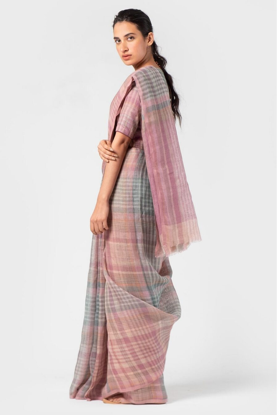 Anavila Mulberry multi plaid sari