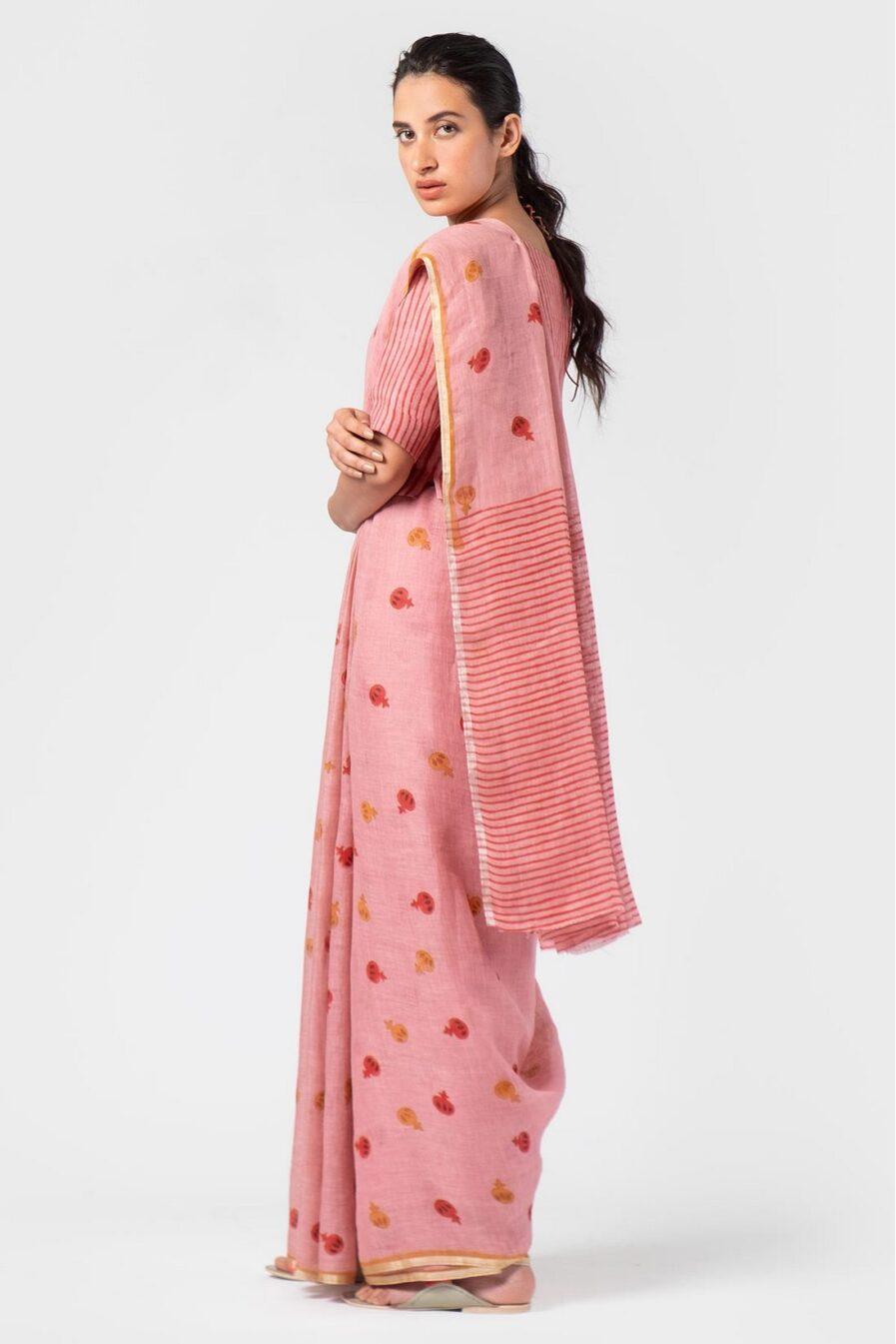 Anavila Pink anar block print sari