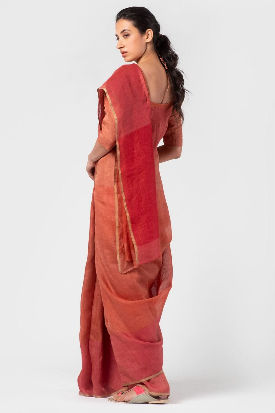 Anavila Graded coral summer sari
