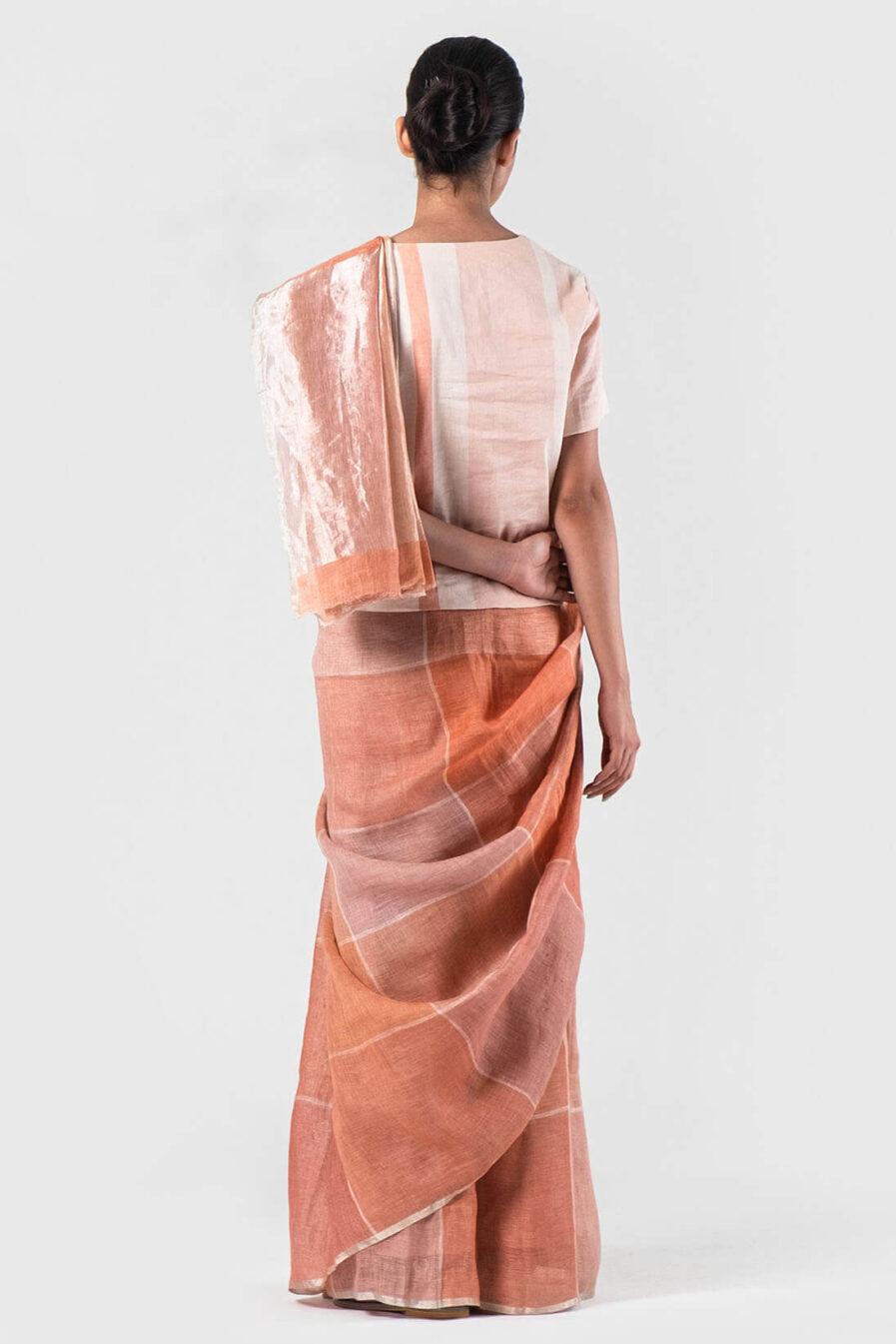 Anavila Salmon Summer checkered sari