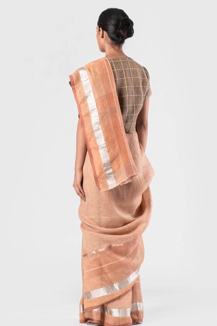 Anavila Peach festive sari