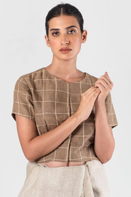 Anavila Brown Cord checkered blouse