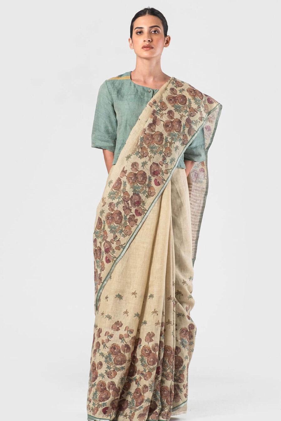 Anavila Natural Powder pink floral sari