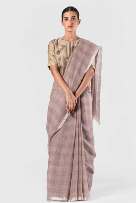 Anavila Blush Grid checkered sari