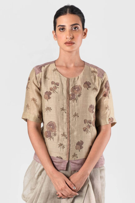 Anavila Natural Double layer linen silk blouse