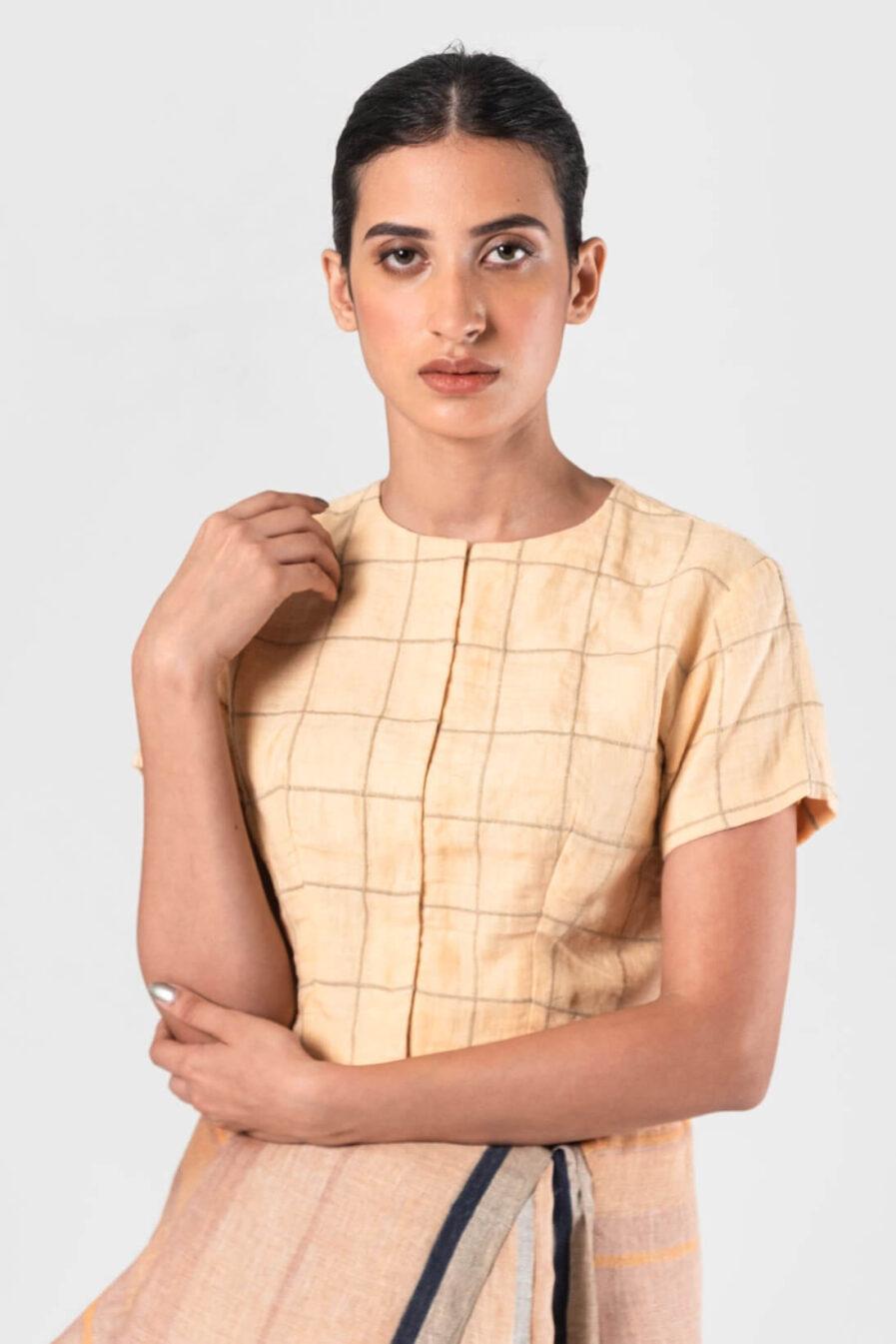 Anavila Peach checkered blouse