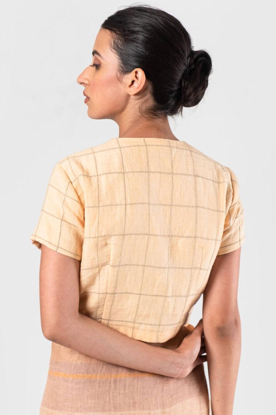 Anavila Peach Cord checkered blouse