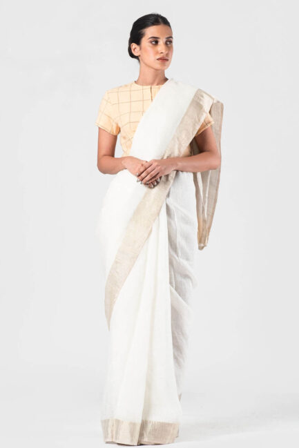 Anavila Ivory festive sari