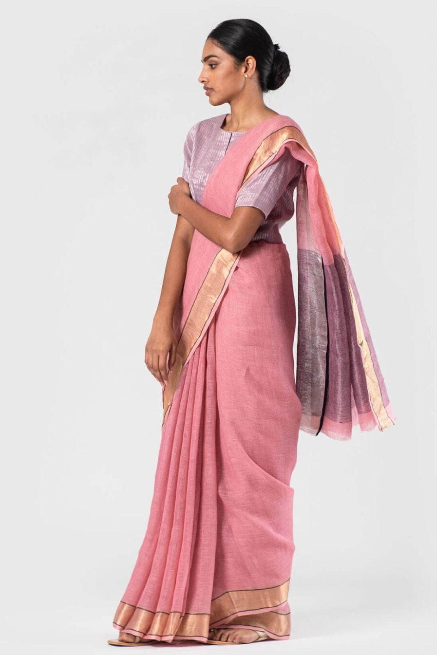 Anavila Pink Ganga jamuna zari sari