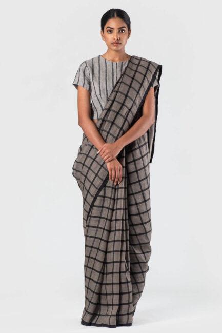 Anavila Grey Black silk grid linen sari