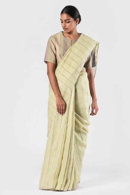 Anavila Soft green Ribbed cotton detail linen sari