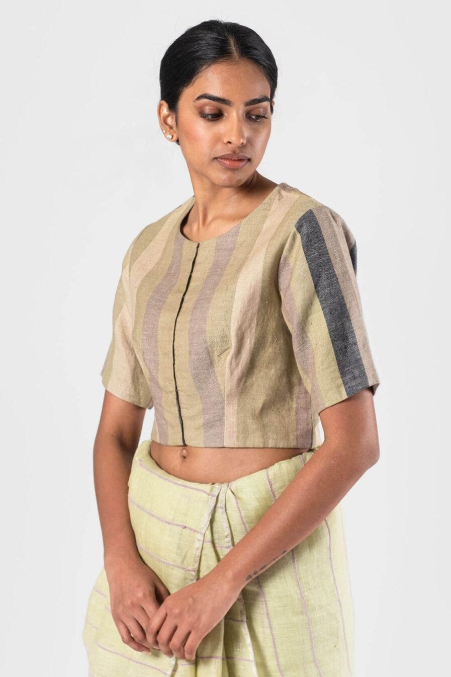 Anavila Green-Grey Linen striped blouse