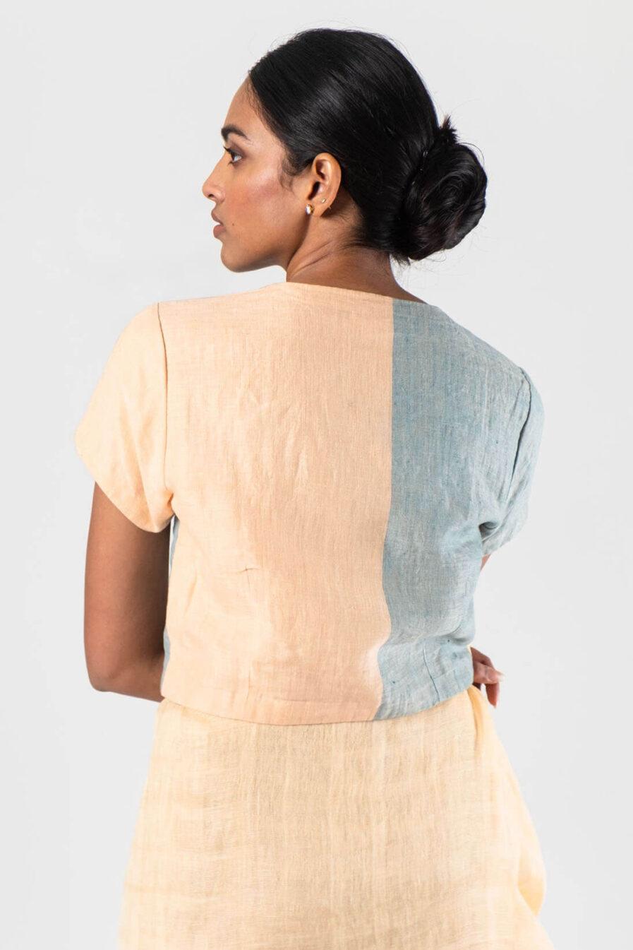 Anavila Peach Colour block linen blouse