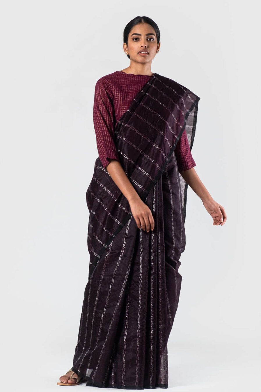 Anavila Wine Zari insertion silk sari