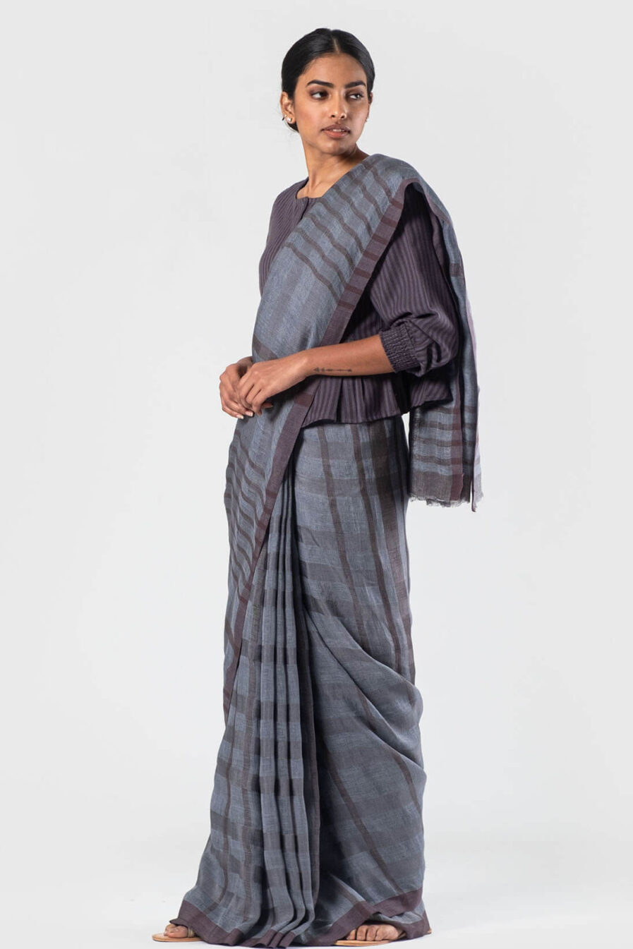 Anavila Pewter and wine Linen silk grid sari