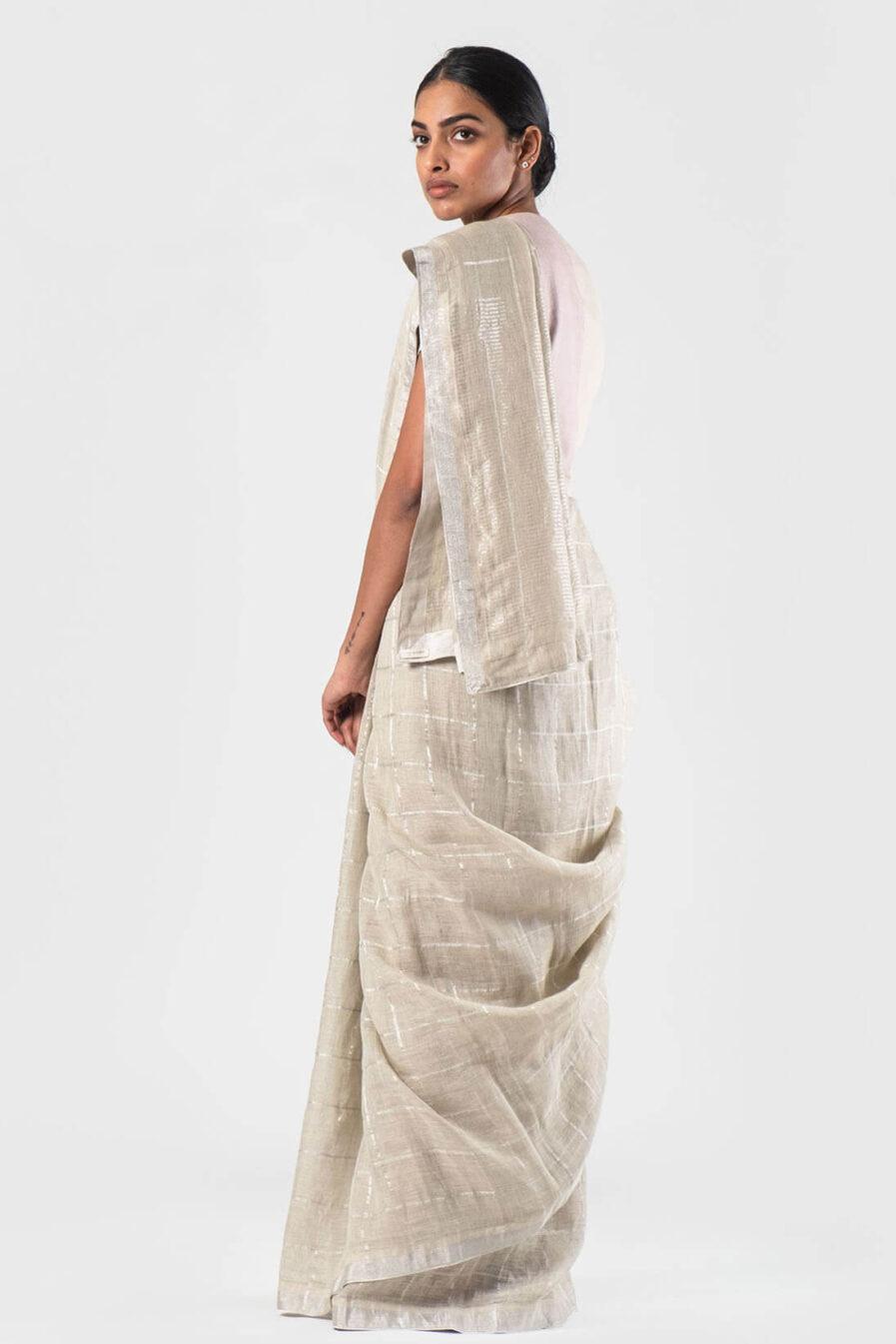Anavila Ice green Silver grid sari