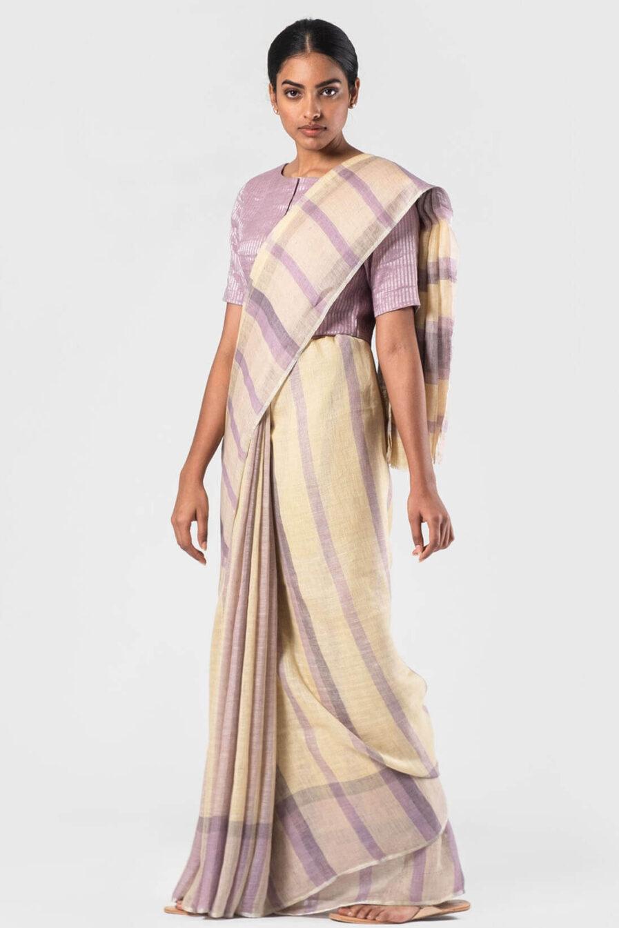 Anavila Lavender-Vanilla Natural plaid summer linen sari