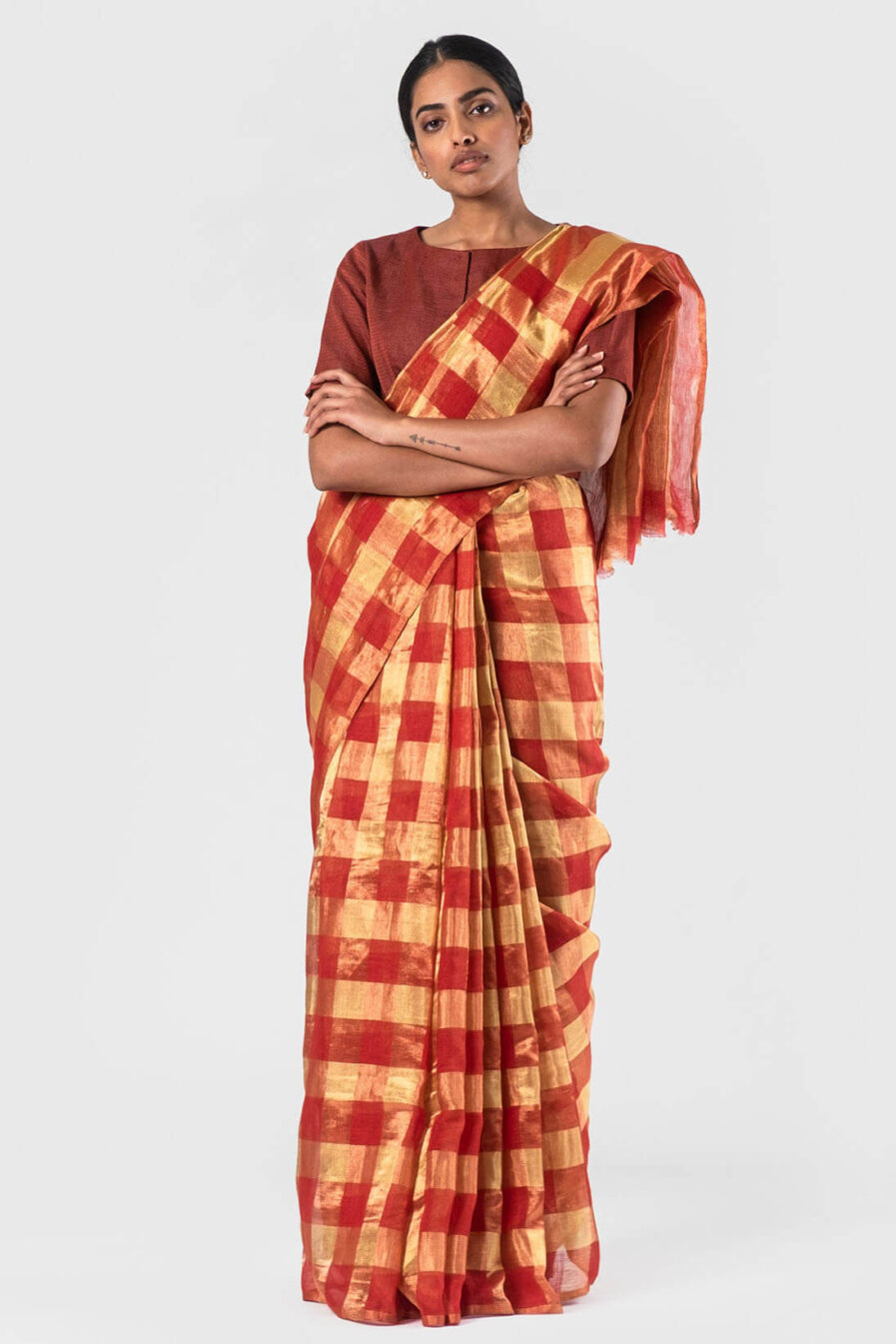 Anavila Red Gold checkered sari
